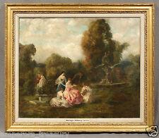 "Henri-FANTIN-LATOUR Oil Painting Garden Landscape ""Die Galante Harfinistin"""