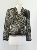 Vtg Adrianna Papell Beige Black Mesh Embroidered Floral Ruffle Evening Jacket 4P