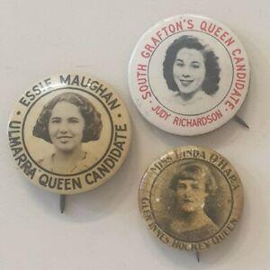 3 x Vintage Australian Carnival Queen Pin Badges - Circa 1940's ?