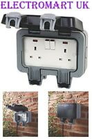 WEATHERPROOF OUTDOOR GARDEN 2 GANG DOUBLE 13 AMP SWITCHED SOCKET IP66
