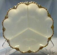 FIRE KING Milk Glass Divided Plate Round w/ Gold Trim Vintage