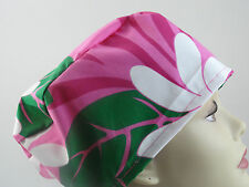 WOMENS SURGICAL_SCRUB HAT_large white_flowers_hot pink_green_leaves_tropical