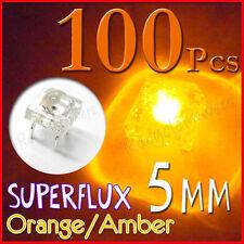 100 5mm Superflux Piranha Orang Amber LED 12000mcd flux