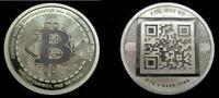 """2012 RARE """"Uncracked"""" Physical Bitcoin BTC 1 oz .999 Silver Coin Round QR Code"""