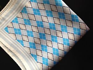 "New 14"" Satin 100%  Silk Pocket Square Blue/Gray Diamond-P"