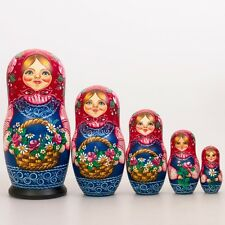 Nesting Doll Wooden Matrioshka Russian Doll Hand Painted Basket with Berries