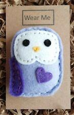 A Cute Handmade Lilac Felt Owl brooch - 6cm tall on card for gift