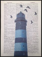 Vintage Blue Lighthouse Dictionary Page Print Picture Art Nautical Seaside Beach