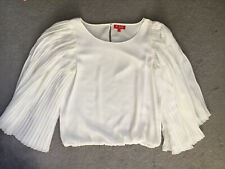 DERHY IVORY BLOUSE WITH NARROW PLEATED SLEEVES IN BELL SHAPE & A CREW NECKLINE-S
