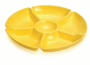 6 Compartment Snack Dish Plastic Serving Tray Dip Bowl Picnic BBQ Assorted Color