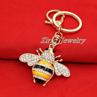 Charm Yellow Bee Honeybee Crystal Pendant Key Chain Purse Bag Handbag Keyring