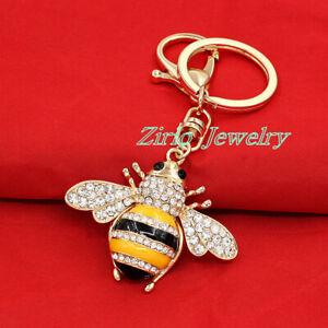 Charm Yellow Bee Honeybee Crystal Pendant Key Chain Purse Bag Handbag Keyring