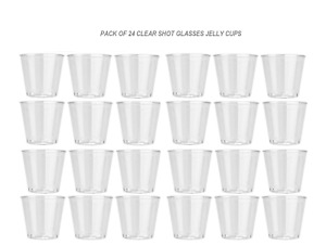 Clear Plastic Disposable Party Shot Glasses Jelly Cups Tumblers Birthday 24pk