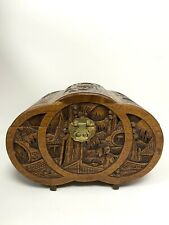 More details for large chinese camphor wood carved domed box brass lock 21.5cm high
