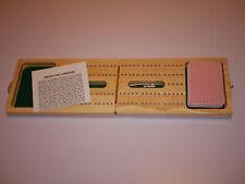 Gibson Games: Hardwood TRADITONAL CRIBBAGE BOARD Pegs & Cards NEW & UNUSED
