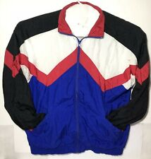 Vintage Active Wear Windbreaker Blue Red Blocked Jacket Size Xl Zipper Ykk 1980s
