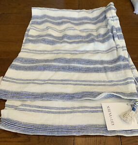 """Serena and Lily Costa Nova pillow cover french blue 14"""" x 40"""" Tassels New"""