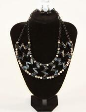 Black & Silver Tone Jxde New Necklace & Earrings Set Premium Fashion Jewelry