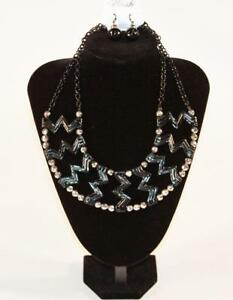 Necklace & Earrings Set Premium Fashion Jewelry Black & Silver Tone JXDE New