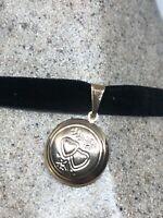 Vintage Heart Locket Choker Gold Filled Necklace