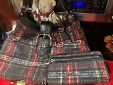 NEW F15487 COACH RED TARTAN PLAID LARGE Hobo AND Matching Zip Clutch Wallet