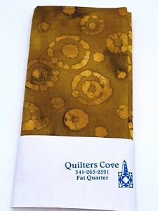 Fat 1/4 -Batik Yellow/Brown with Circles Cotton Quilting Fabric