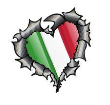 HEART Shape Carbon Fibre Fiber Ripped Metal & Italy Italian Flag car sticker