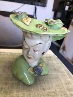 """Vintage Ceramic Lady Head Vase / Planter / Holder 6""""x5"""" Made In Japan 147715"""