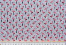 Stoff Baumwolle beschichtet, Luna, hellgrau/rosa, Motiv Flamingos, 160cm