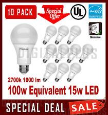 10 LED Light Bulbs MAXLITE 15W 1600 Lumens Soft White 2700K A19  E26 Dimmable !