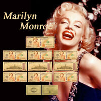 WR Marilyn Monroe Gold Foil 10PCS Banknote Set 1926-1962 Fan Gifts Paper Money