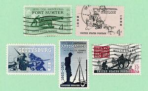USA 5 stamps , SC 1178 - 1182, Civil War Centennial, 1961 - 65, used