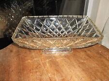 """VINTAGE Art Deco Vetro Spessa piedistallo oblunghi piatto profondo taglio a stella design 10"""" x 6"""""""