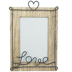 New Freestanding Wood Effect 6x4 Love Photo Frame Modern Picture Home Decor Gift
