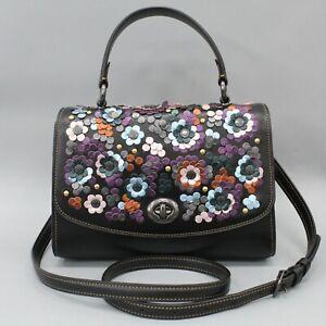 Coach Tilly Top Handle Satchel Floral Leather Applique Black F80213