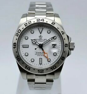 Mens Automatic Homage Watch Peter Lee Explore White Dial 42mm