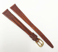 Time Fashions Genuine Teju Lizard Brown 12mm Leather Gold Buckle Watch Band
