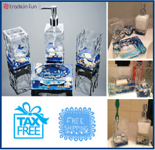 Bathroom Accessories Set 4Pc Natoral Beach Shells Decor Bath Organizer Gift Spa