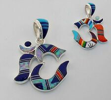 REVERSIBLE LUCKY CHARM OM MULTICOLOR OPAL TURQUOISE INLAY .925 SILVER OM PENDANT
