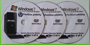 HP Pavilion p6604y Factory Recovery Media 3-Discs / Windows 7 Home 64-bit