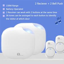 36 Chimes Twin Wireless Doorbell Cordless 150M Range Battery Operated Waterproof