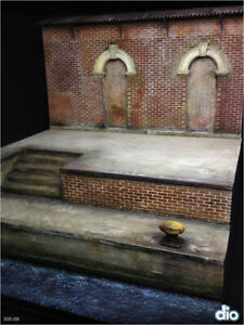 Built & Painted Diorama base, 25cm square, 1:35 Old 2 floor dock with warehouse