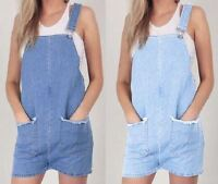 Ladies Womens Dungaree Denim Jeans Pinafore Overall Pockets Playsuit Dress
