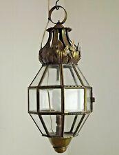 Unusual French Vintage Octagonal Copper Lantern With Leaf Detail & Top Hoop 2073