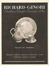 Y2368 RICHARD-GINORI Porcellane - Pubblicità del 1942 - Old advertising