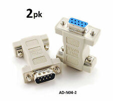 2-PACK DB9 Null Modem Male/Female Data Transfer Adapter