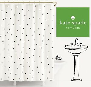 New Kate Spade New York Deco Dot Shower Curtain Blk White Polka Dots 72 x 72 IN