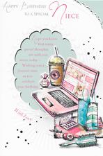 Nipote Happy Birthday Card, Rosa Laptop TEMA, BELLA strofa, 9 x 6 pollici (K1)