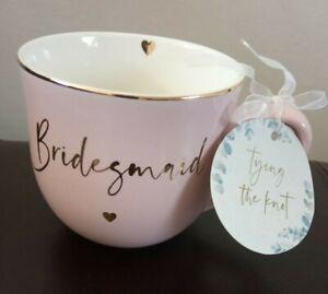 Pink Bridesmaid Ceramic Mug Gold Heart Bridesmaid Word Bride Wedding Favour