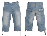 BNWT MENS ENZO DESIGNER BRANDED DENIM BLUE DARK SUMMER SHORTS OUTDOOR